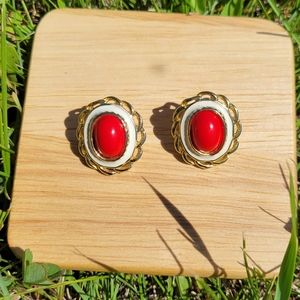 Vintage Red Coral Studded Earrings
